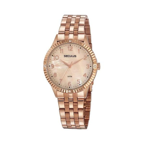 Relógio Seculus Feminino Cristais 77047lpsvrs3 Rosé