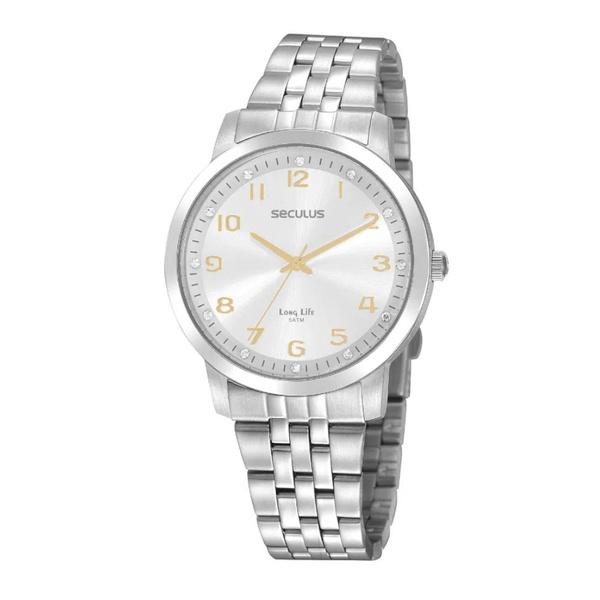 Relógio Seculus Feminino Clássico Cristais 20895L0SVNA3 Prata