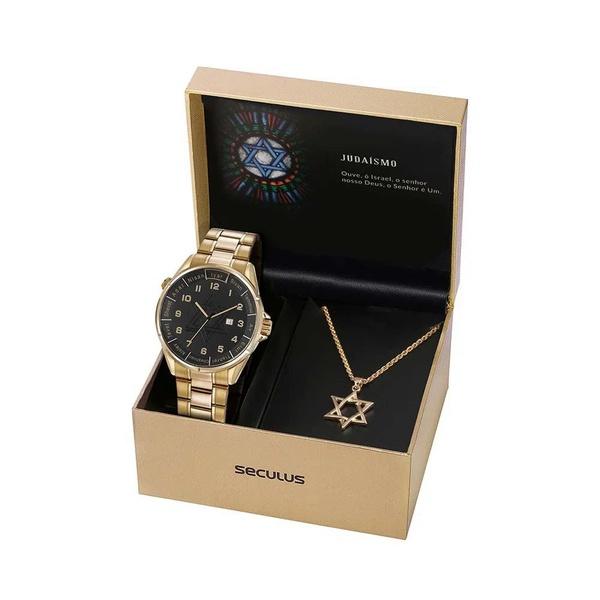 Kit Relógio Seculus Masculino Estrela De Davi 23685gpskda1k1 Dourado