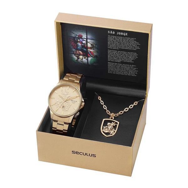 Kit Relógio Seculus Masculino São Jorge 28933gpskda1k1 Dourado
