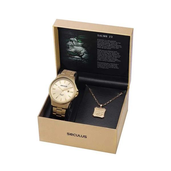 Kit Relógio Seculus Masculino Salmo 23 28934GPSVDA1K1 Dourado