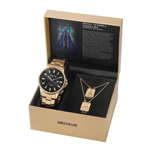 Kit Relógio Seculus Masculino Nossa Senhora Aparecida 35001GPSKDA1K1 Dourado