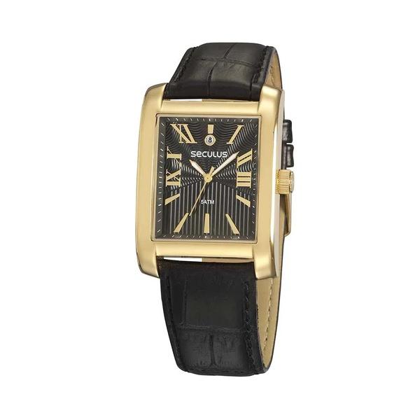 Relógio Seculus Masculino Couro 23692GPSVDC2 Dourado com Preto