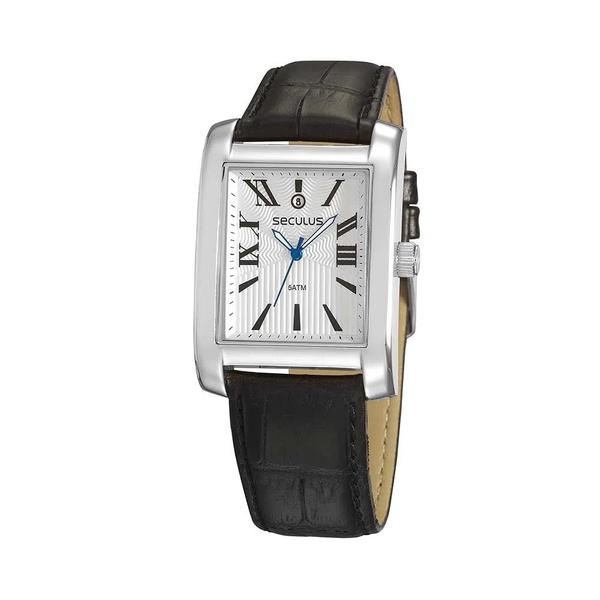Relógio Seculus Masculino Couro 23692g0svnc1 Prata Com Preto