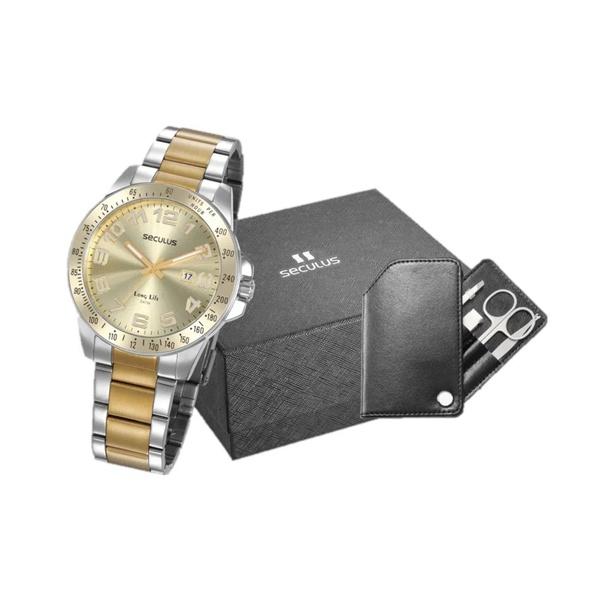 Kit Relógio Seculus Masculino Manicure 20854gpsvba1k1 Prata e Dourado