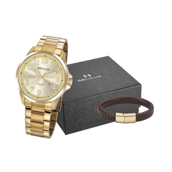 Kit Relógio Seculus Masculino Pulseira 20856gpsvda1k2 Dourado