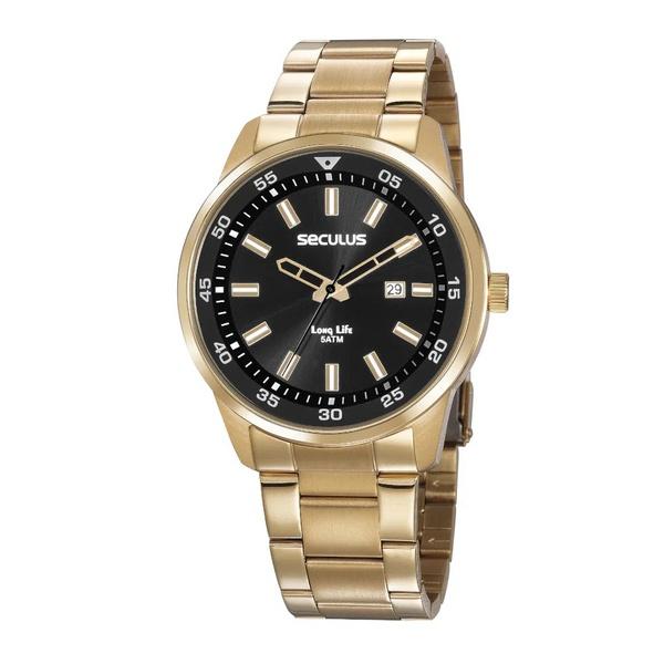 Relógio Seculus Masculino Casual 20786gpsvda3 Dourado