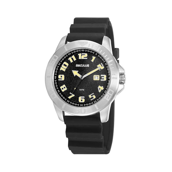 Relógio Seculus Masculino Esportivo Silicone 20933G0SVNU1 Preto