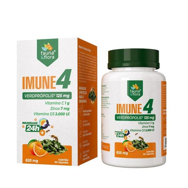 Imune 4 (Verdprópolis 125mg + Vit C 1g + Zinco 7mg + Vit D3 2000Ui) - 60 capsulas