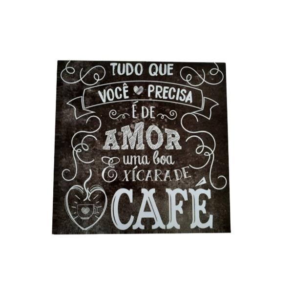 QUADRO 30X30CM AMOR E CAFE