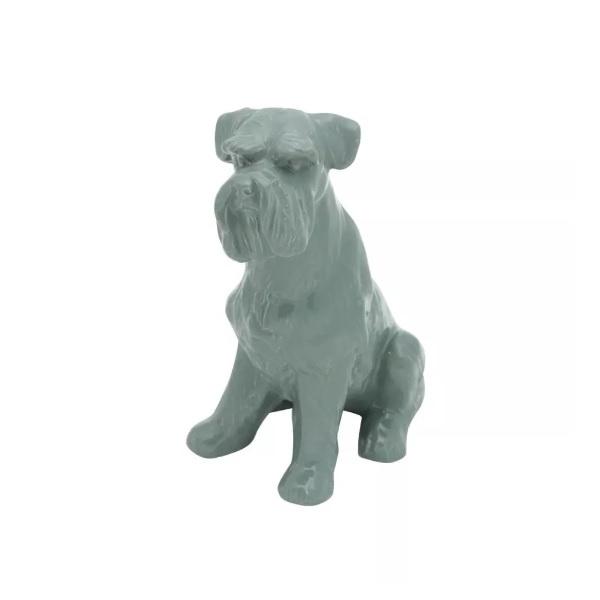 DECOR PORCELANA SCHINAUZER DOG STANDING CINZA 16X11X9CM