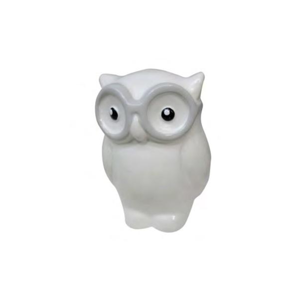 DECOR RESINA CUTE OWL W GLASSES BRANCO 6X5,5X8CM