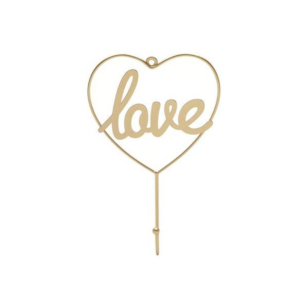 CABIDEIRO METAL LOVE HEART DOURADO 13X4X23CM