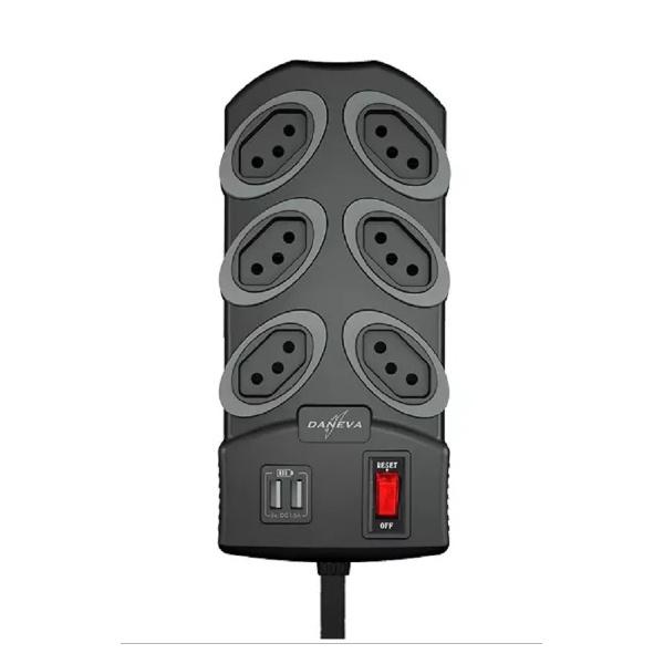FILTRO DE LINHA 6 TOMADAS C/ USB GRAFITE DN1797