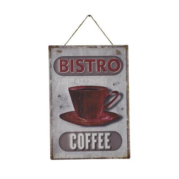 PLACA DECORATIVA COFFEE BISTRO 28X0,5X40CM EM FERRO