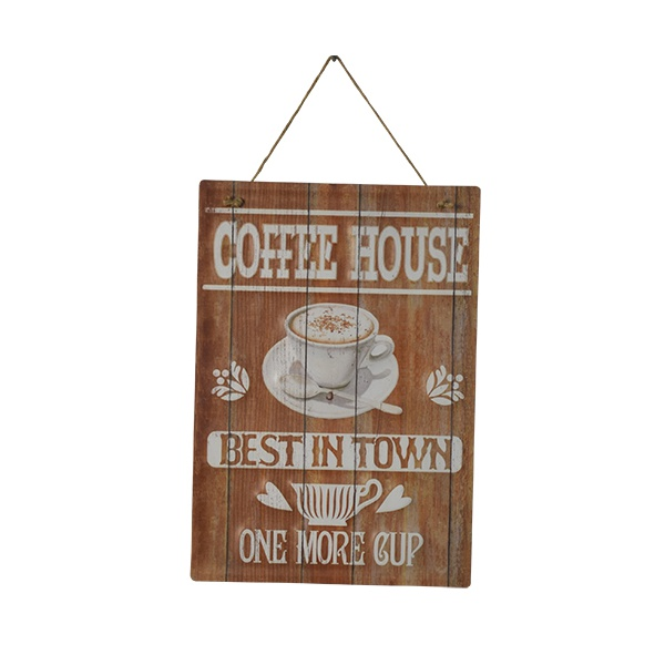 PLACA DECORATIVA COFFEE HOUSE 28X0,5X40CM EM FERRO