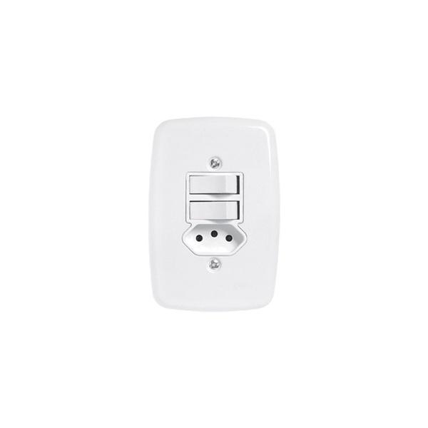 Interruptor 2 Secoes + Tomada 10a 4x2 Completa Ideale Pluzie