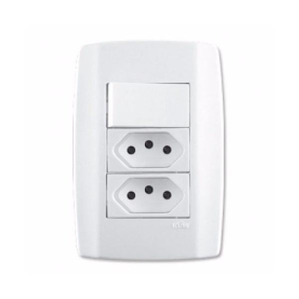 Tomada Dupla 2p+t Com 1 Interruptor Slim Ilume