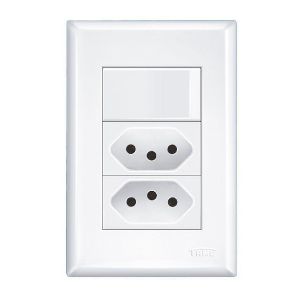 Interruptor Simples Com 2 Tomadas 10a 4x2 Evidence Fame