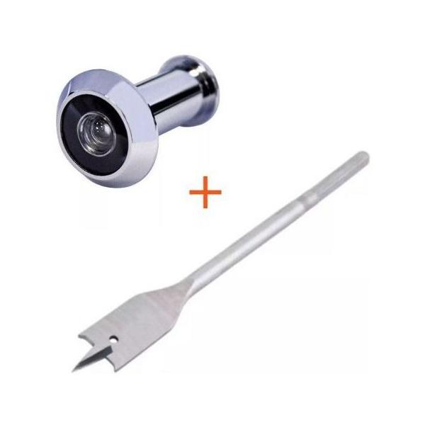 Olho Mágico Visor De 180º + Broca Chata 9/16 Para Instalação