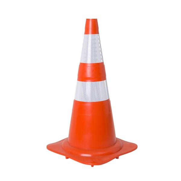 Cone de Borracha Flexivel Laranja e Branco 75cm