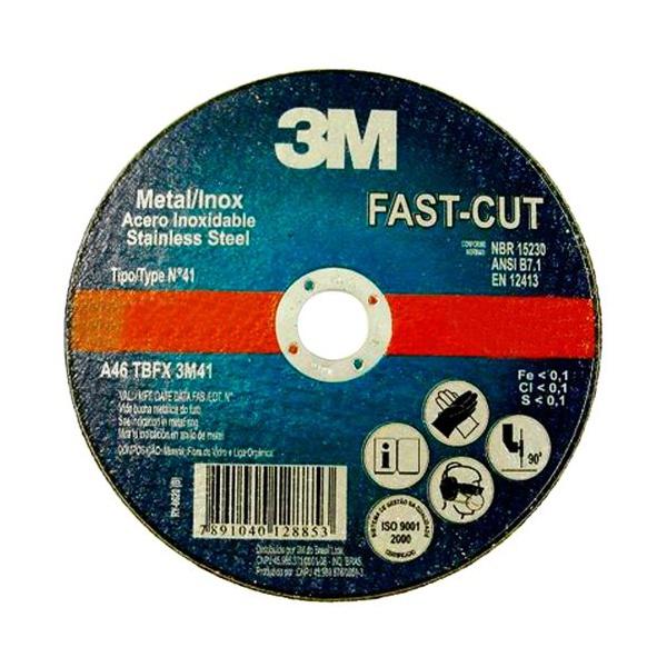 """Disco de Corte Fino FAST CUT Aco/Inox 7"""" X 1,2mm Com Furo de 7/8"""" 3M"""