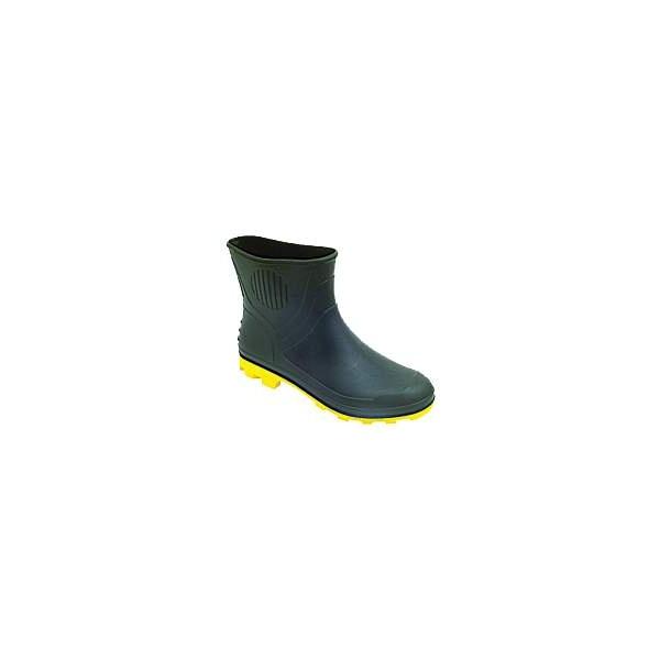 Bota em PVC Preto Cano Curto com Solado Amarelo Grendene
