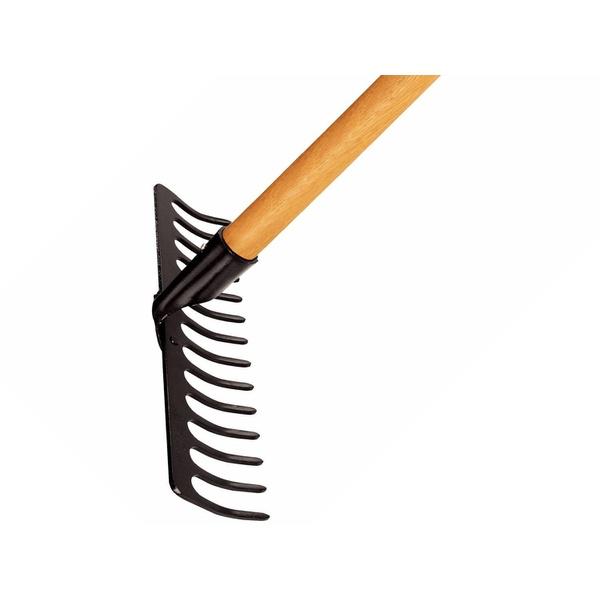 Ancinho metálico curvo 14 dentes com cabo de madeira 150 cm