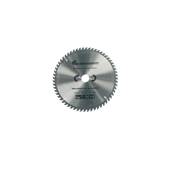 """Disco de serra circular para Madeira 9 1/4"""" com furo de 1"""" (235mm x 25mm x 36 Dentes) - Carbografite"""
