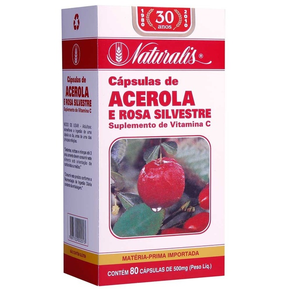 Acerola e Rosa Silvestre 80 cápsulas x 500mg