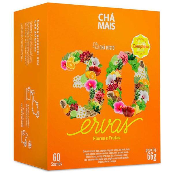 Chá 30 Ervas, Flores e Frutas 60 Sachês