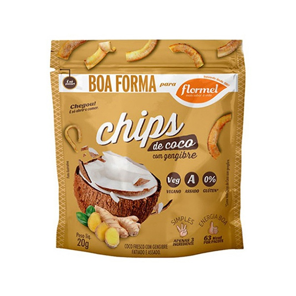 Chips de Coco com Gengibre Display 8 x 20g