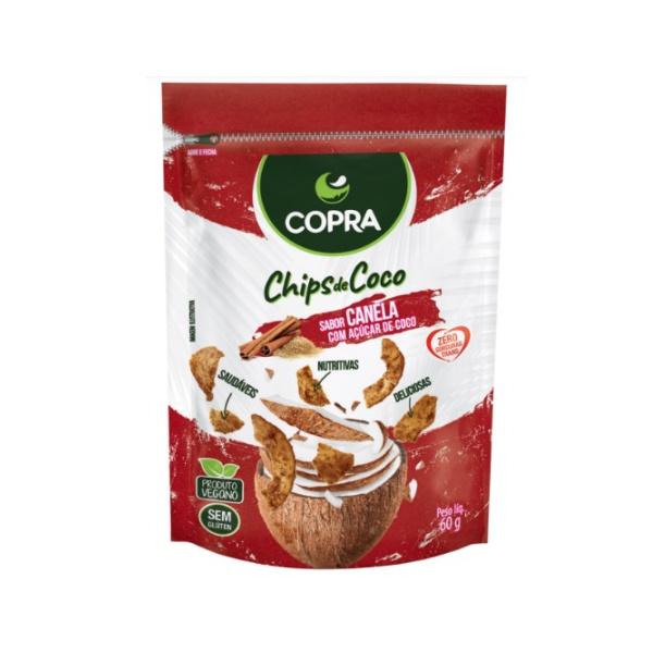 Chips de Coco Orgânico Vegano Canela Com Açúcar de Coco 60g