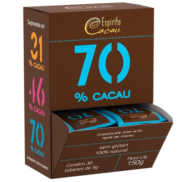 Chocolate 70% Cacau Display 30x5g