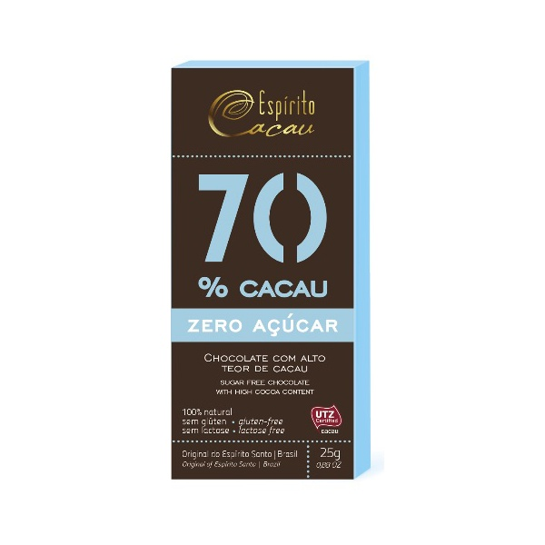 Chocolate 70% Cacau Zero Açúcar Display 10x25g
