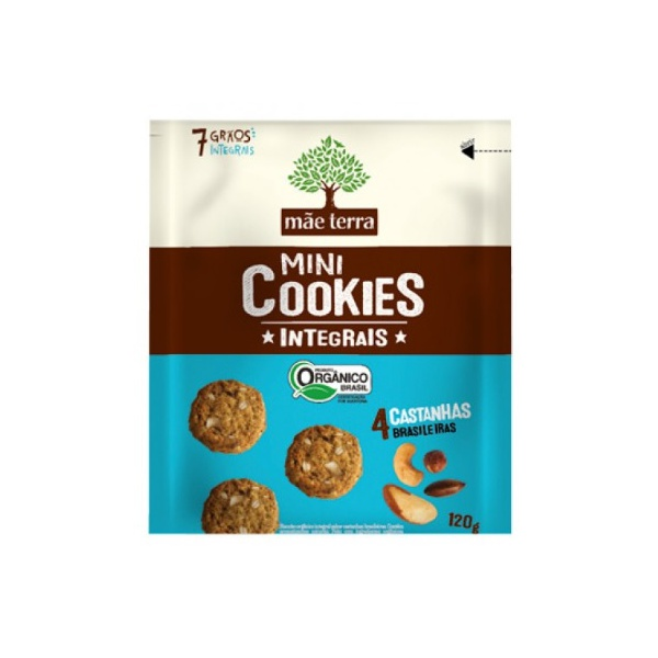 Mini Cookies Integrais Orgânicos 4 Castanhas Brasileiras 120g