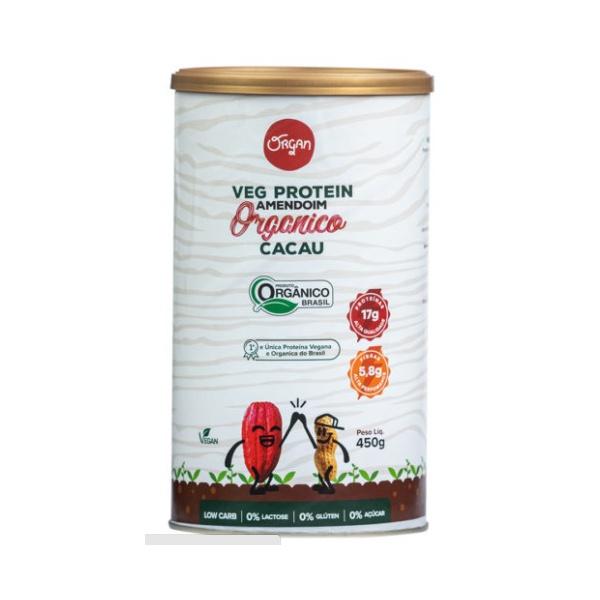 Veg Protein Amendoim Orgânico Cacau Pote 450g