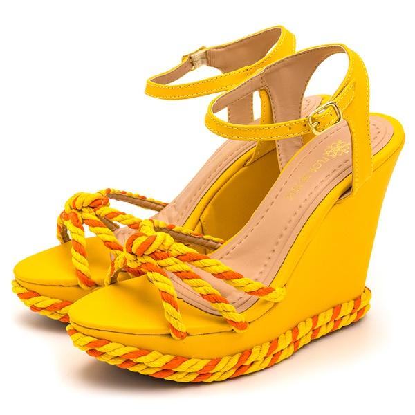 Sandalia Anabela Aurora Amarelo e Laranja