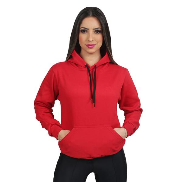 Blusa Moletom Canguru Liso Vermelho