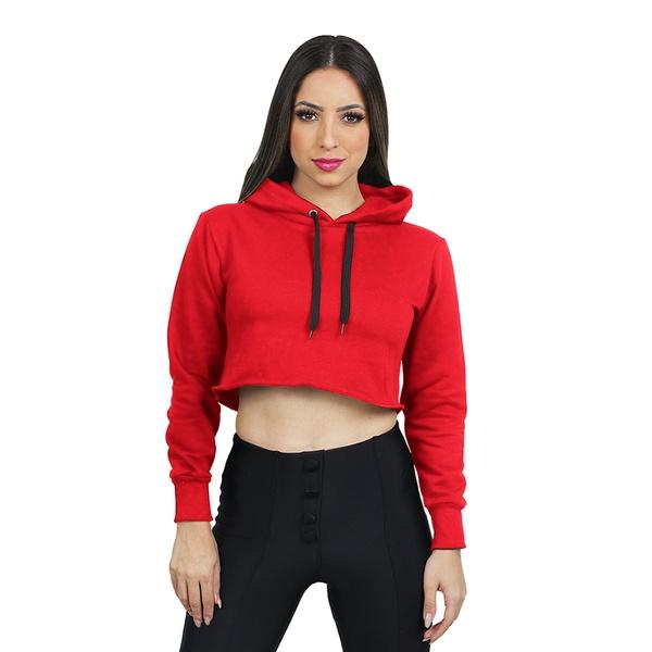 Blusa Moletom Cropped Liso Vermelho