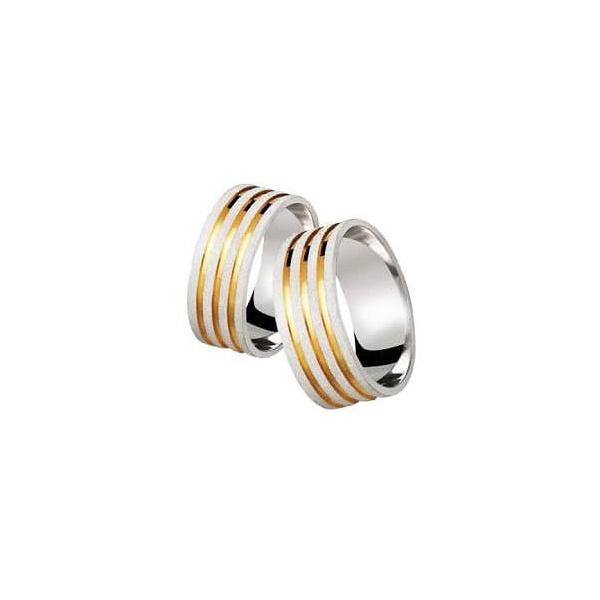 Aliança Prata Diamantada 8mm Com Três Frisos Folheado a Ouro 18k (par)