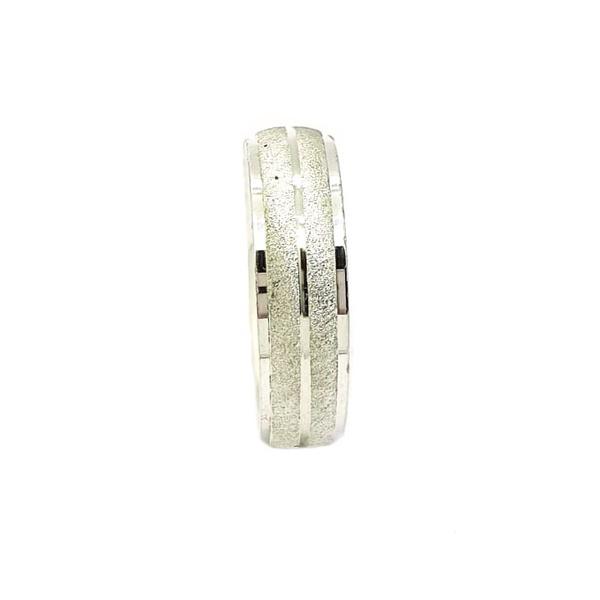Aliança Prata Diamantada 6mm