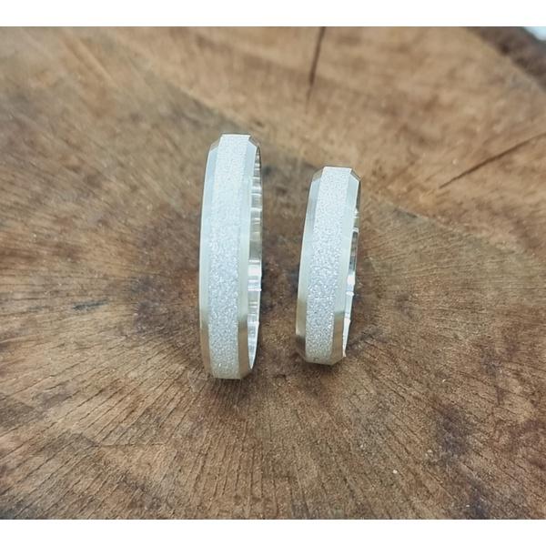 Aliança Prata Diamantada 4mm (Cada)
