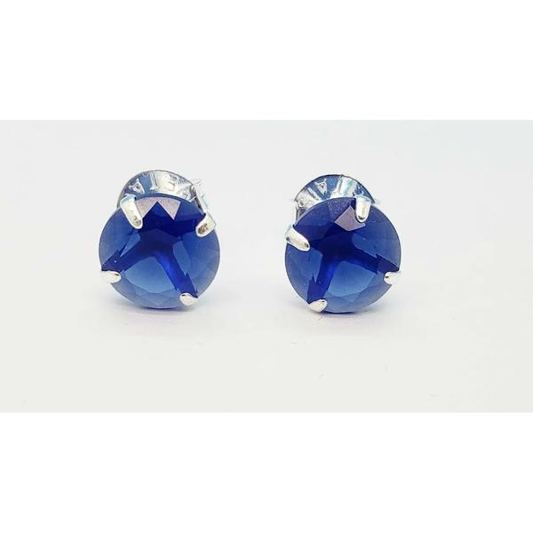Brinco Prata Com Zircônia Azul 10mm