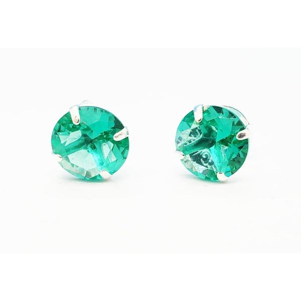 Brinco Prata Com Zircônia Verde 10mm