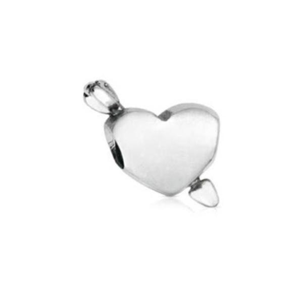 Berloque de Prata Coração com Flecha
