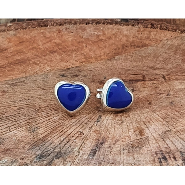 Brinco Prata Coração com Resina Azul Royal
