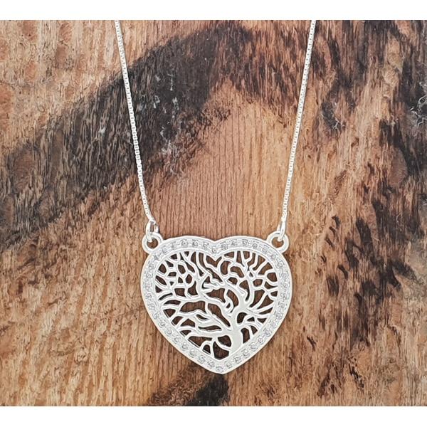 Gargantilha Prata Coração e Árvore da Vida com Zircônias