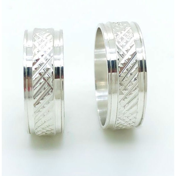 Aliança Prata Diamantada 6mm (par)