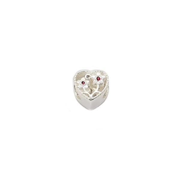 Berloque Prata Coração com flores